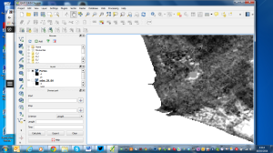 The area around Fiumicino in SRTM TIFF data, manipulated in QGIS